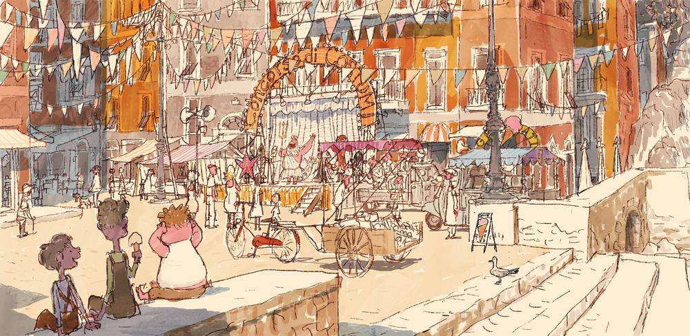 Luca visual development art - town square (Pixar Animation Studios)