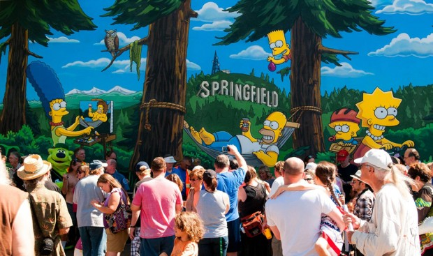 THE SIMPSONS: The city of Springfield, OR celebrates THE SIMPSONS 25th ANNIVERSARY with the unveiling of the Simpsons mural during a block party dedication ceremony on the downtown walk of murals on Monday, Aug. 25th.  THE SIMPSONS ª and © 2014 TCFFC ALL RIGHTS RESERVED.