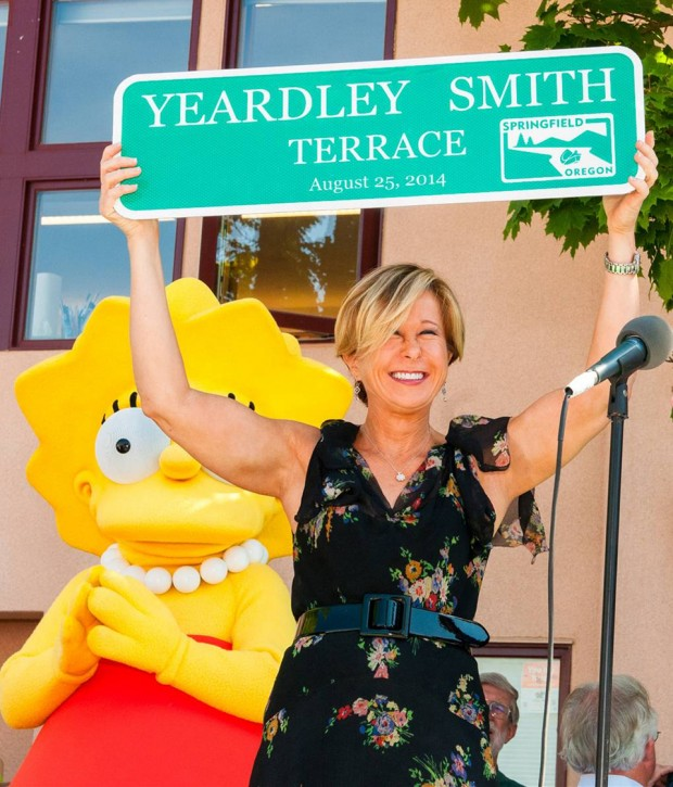 THE SIMPSONS: Cast member Yeardley Smith and the city of Springfield, OR celebrates THE SIMPSONS 25th ANNIVERSARY with the unveiling of the Simpsons mural during a block party dedication ceremony on their downtown walk of murals on Monday, Aug. 25th. THE SIMPSONS ª and © 2014 TCFFC ALL RIGHTS RESERVED.