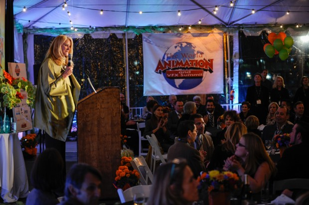 Publisher and President of Animation Magazine Jean Thoren welcoming award recipients and attendees to the 2014 third annual World Animation and VFX Summit in Marina del Rey. -- Photo credit: Will Thoren