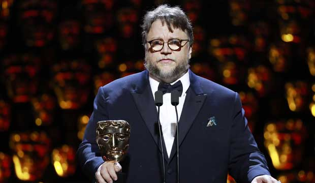Guillermo del Toro accepts the 2018 Director BAFTA for The Shape of Water. [Photo: Guy Levy/BAFTA/REX/Shutterstock]