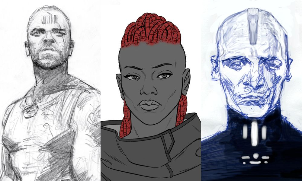 2150 - character concepts for Deakins, ReDro and The Warden