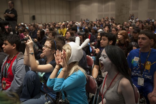 "Fans scream during an ""Adventure Time"" panel discussion at New York Comic Con on Sunday, Oct. 16, 2011 in New York, NY. Photo by John Nowak/Cartoon Network"