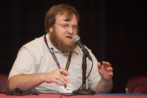 "Pendleton Ward answers questions during an ""Adventure Time"" panel discussion at New York Comic Con on Sunday, Oct. 16, 2011 in New York, NY. Photo by John Nowak/Cartoon Network"
