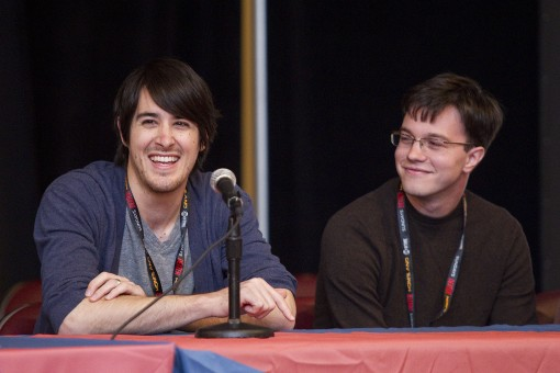 "JG Quintel and Sam Marin answer questions during an ""Adventure Time"" panel discussion at New York Comic Con on Sunday, Oct. 16, 2011 in New York, NY. Photo by John Nowak/Cartoon Network"