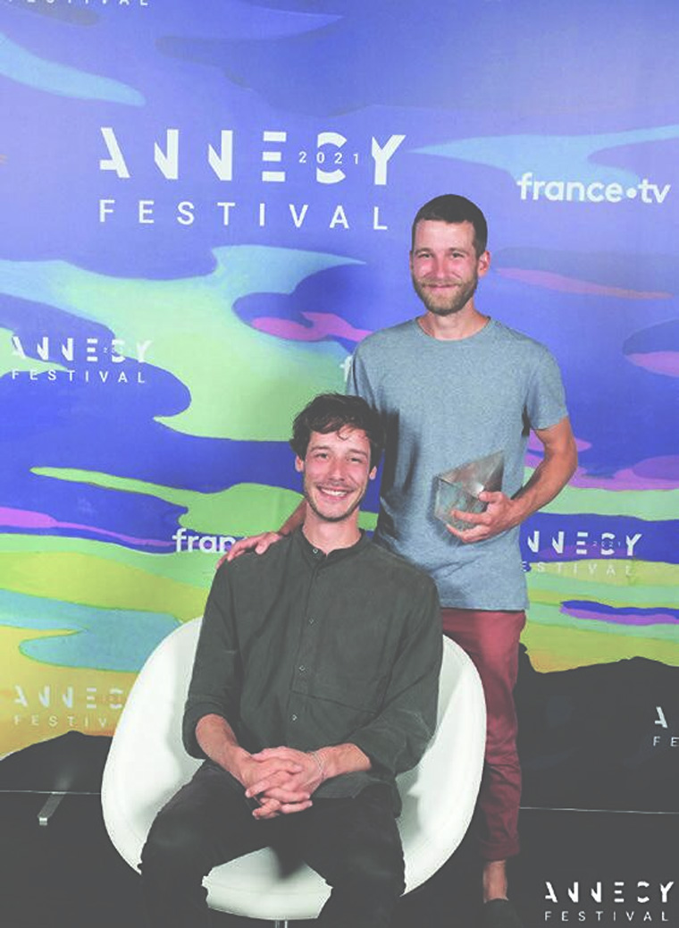 Samuel Patthey (seated) and Sylvain Monet with their Annecy Cristal (2021)