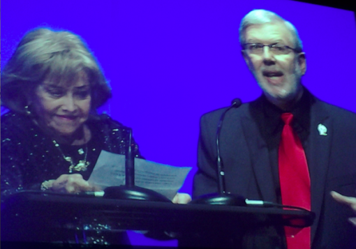 Annies founder June Foray and host Leonard Maltin