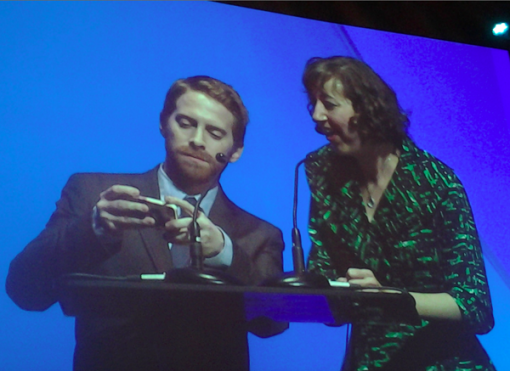 Annie winners Kristen Schaal and Seth Green share a laugh