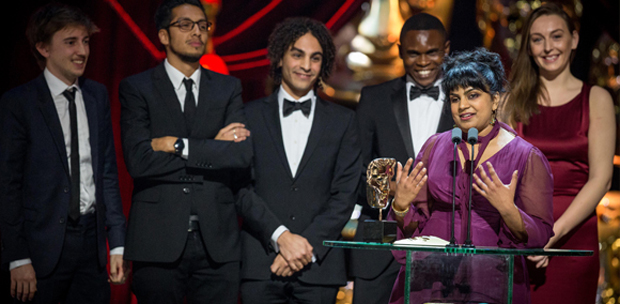 A Love Story team including director and co-writer Anushka Naanayakkara receiving her BAFTA - Photo courtesy of BAFTA / Guy Levy
