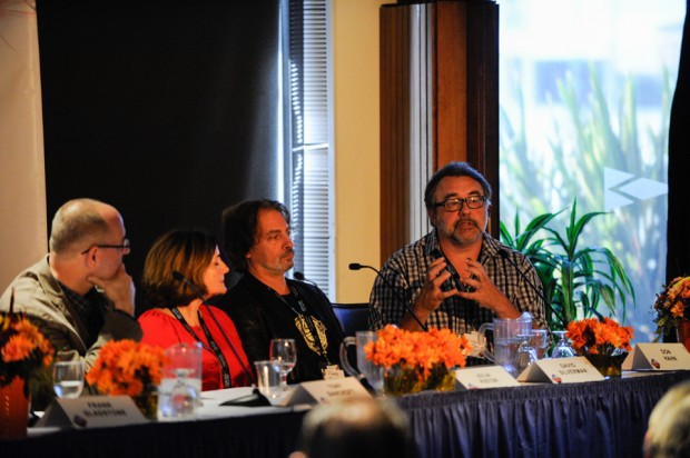 Appearing on the Masters of Reinvention panel are director Tony Bancroft, executive producer Julia Pistor, <em>The Simpsons</em> director David Silverman, and Disney producer Don Hahn.