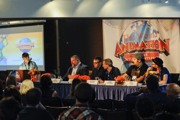 A star-studded lineup of directors spoke on the How to be a Savvy Oscar Contender panel. From left: moderator Ramin Zahed, <em>How to Train Your Dragon 2 </em>director Dean DeBlois, <em>The Boxtrolls </em>directors Graham Annable and Anthony Stacchi, <em>The Book of Life </em>director Jorge Gutierrez, and Cartoon Saloon co-founder Paul Young.