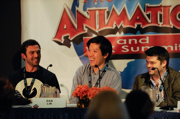 Everything came out during the panel Building a Blockbuster: Brick by Brick: The Secrets of <em>The LEGO Movie</em>. From left: cinematographer Pablo Plaisted, producer Dan Lin, and co-director Chris Miller.