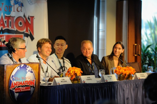 The summit spanned the world in 45 minutes with the panel Adventures in the Global Market. From left: moderator Tom McLean; Dirk Hampel, co-founder of Germany's B-Water Studios; Trevor Lai, founder, CEO and creative director of UP Studios in China; Chuck Powers, former chief creative officer Kartun Studios in Malaysia and director of <em>Ribbit!</em>; and Anja Sosic, producer for Poland-based Human Ark.