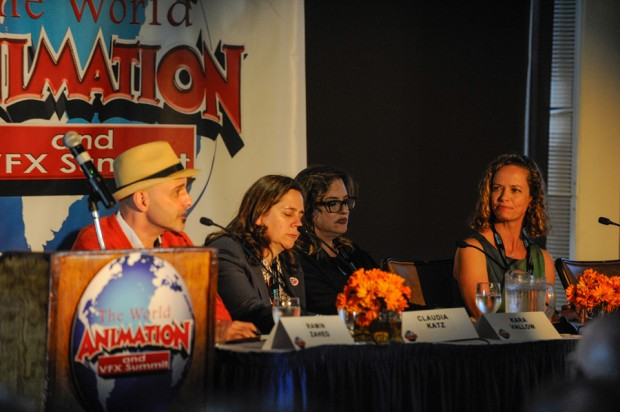 Three of TV's most experienced professionals discuss its future on the panel Defining the New TV Landscape. From left: moderator Ramin Zahed; Claudia Katz, co-founder and executive VP for Rough Draft Studios; Kara Vallow, producer on <em>Family Guy</em>, executive producer on <em>American Dad</em> and animation producer for <em>Cosmos: A Spacetime Odyssey</em>; and Halle Stanford, exec VP of children's entertainment for The Jim Henson Co.