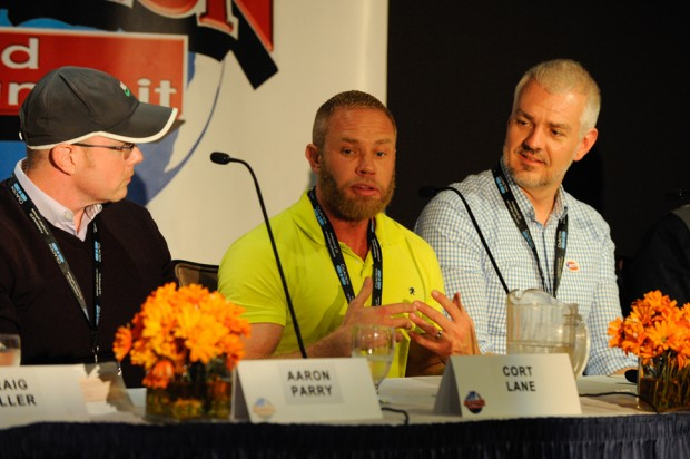 Discussing the ins and outs of keeping evergreen properties fresh on the panel Re-Animated: The Art of Rebooting Classic Properties are, from left: Aaron Perry, executive VP and COO at Stereo D; Cort Lane, VP of animation development for Marvel TV; and Troy Underwood, director of current series for Disney TV Animation.