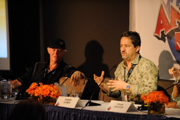 Wrapping up the summit's panels by looking to animation's growing boundaries on the Meet the New Interactive Magicians panel are, from left: Richard Taylor, media director of themed entertainment for RGH; and Daren Ulmer, president and chief creative at Mousetrappe.