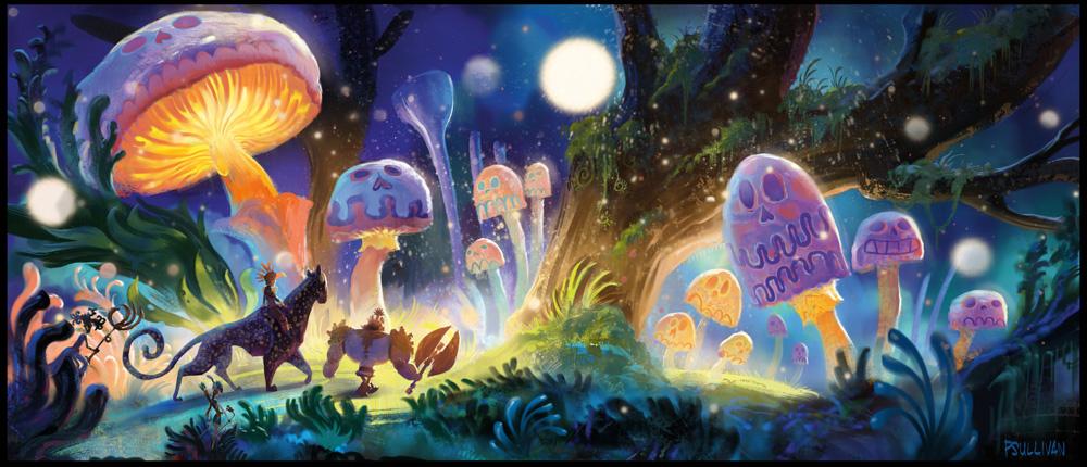 Enchanted forest concept art by production designer Paul Sullivan.
