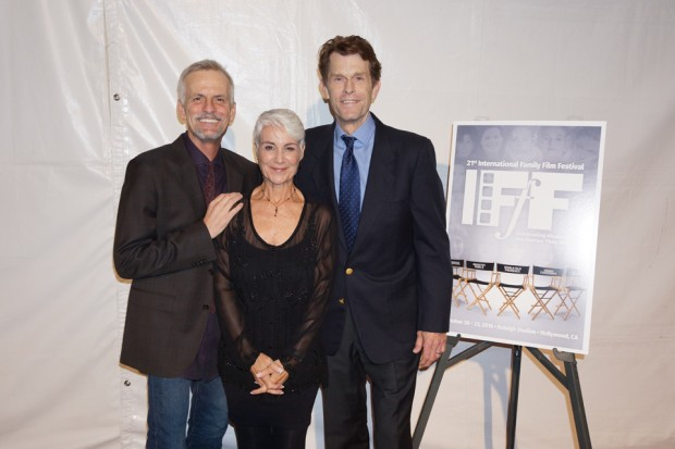 Andrea Romano with Rob Paulsen, Kevin Conroy - photo by Renard Garr