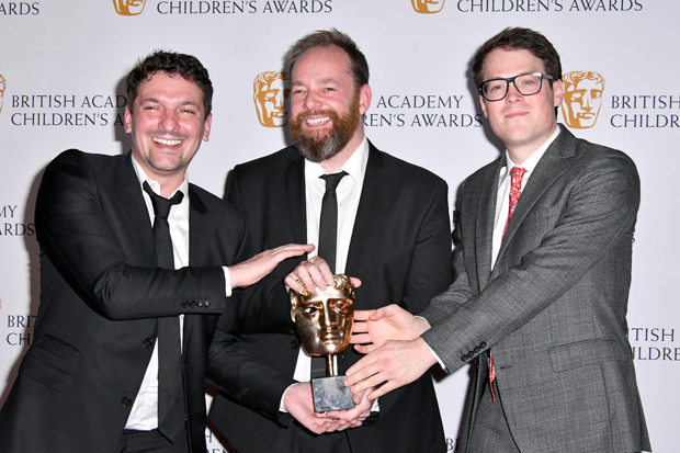 The Amazing World of Gumball writers Ben Bocquelet, Mic Graves and Joe Parham with their award.