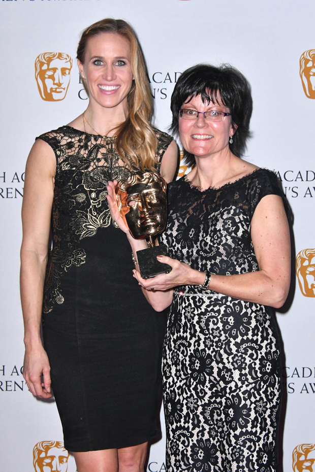 Olympic Gold Medalist Helen Glover with Kay Benbow, Controller for Channel of the Year Award winner CBeebies.