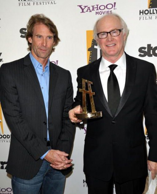 Director Michael Bay (left) and ILM's vfx supervisor Scott Farrar