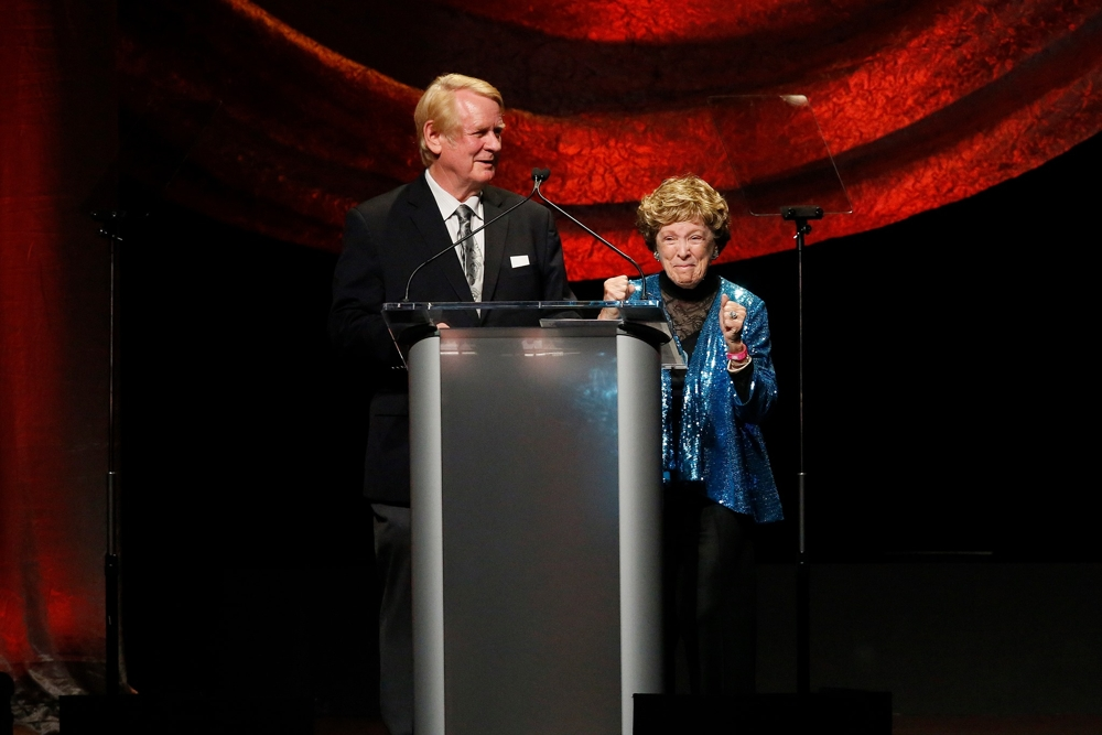 Actor Bill Farmer (voice of Goofy) and actress Margaret Kerry (model for Tinker Bell) charmed the audience with their anecdotes at the 2020 Annie Awards. [Photo: David Yeh]