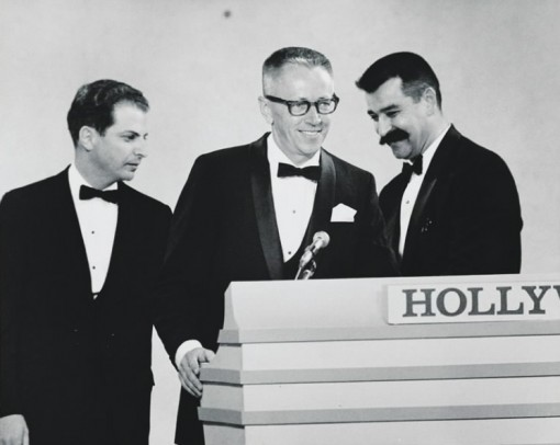 Lee Mendelson (left), Charles Schulz and Bill Melendez accept the Emmy Award in 1966 for best children's program for A Charlie Brown Christmas. (Photo courtesy of Peanuts Worldwide LLC)