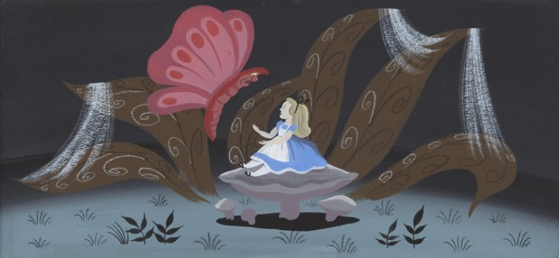 "A Mary Blair concept painting from ""Alice in Wonderland"" 1951, tempera and watercolor on illustration board, framed.  8 x 16 1/2in within mat Est. $8,000-12,000"