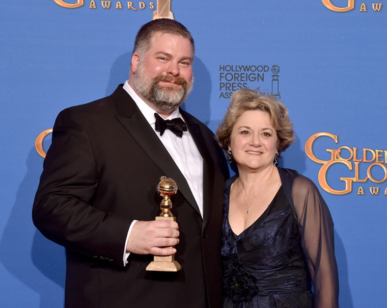 Director Dean DeBlois and producer Bonnie Arnold after winning the 2015 Golden Globe for How to Train Your Dragon 2. [Photo: Kevin Winter/Getty]