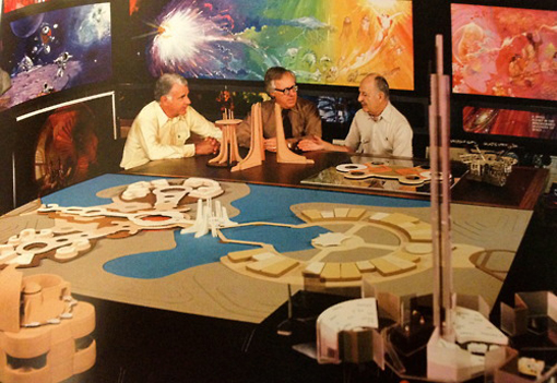 Ray Bradbury (center) doing some Imagineering