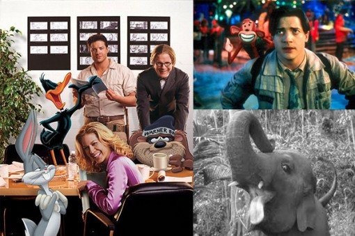 (Left) Brendan Fraser in Looney Tunes:  Back in Action, (Top Right) Fraser with his stop motion costar in Monkeybone, (Bottom Right) Tai the Elephant in a digitally-enhanced closeup from George of the Jungle