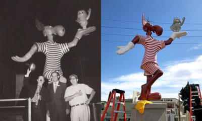 Pictured: Writer/producer and voice of Bullwinkle Bill Scott, LA County sheriff Peter Pitchess and series creator Jay Ward unveiled the original statue in 1961. The restored piece, photographed by Dan Mryglot for WeHo Times, will be officially uncovered at the end of March.