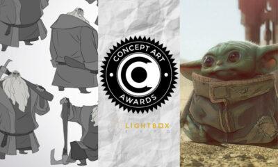 Concept Art Awards 2020 winners Klaus, character designs by Torsten Schrank (SPA Studios/Netflix), and The Mandalorian, The Child concept by Christian Alzmann (Lucasfilm/Disney)