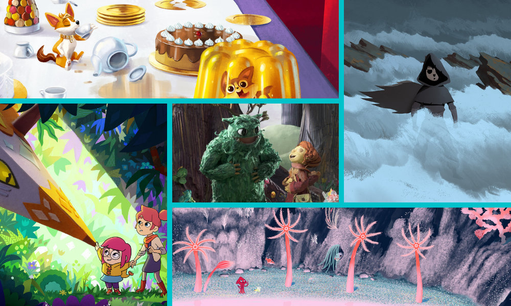 Clockwise from top left: Corgi, a Royal Family; Voro; Abyss: Very Special Case Unit; The Chimera Keepers; Sacha and the Christmas Creatures (center)