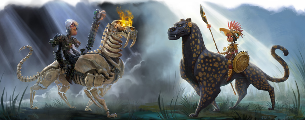 Concept art of Zatz and Maya on their respective mounts, Maya and the Three.
