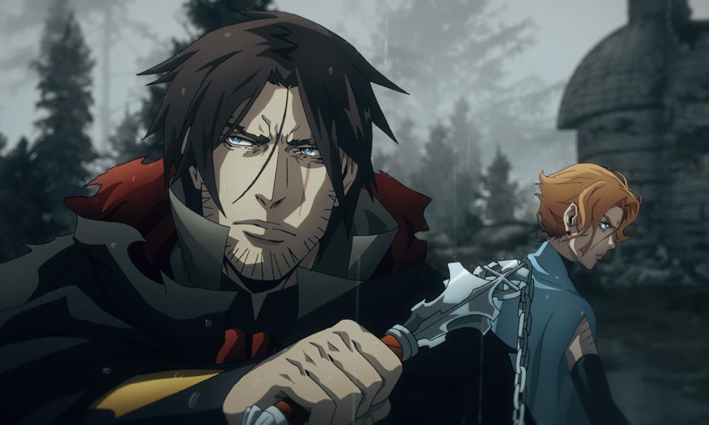 Trevor Belmont (voiced by Richard Armitage) and Sypha (Alejandra Reynoso) continue their quest in Castlevania Season 4.