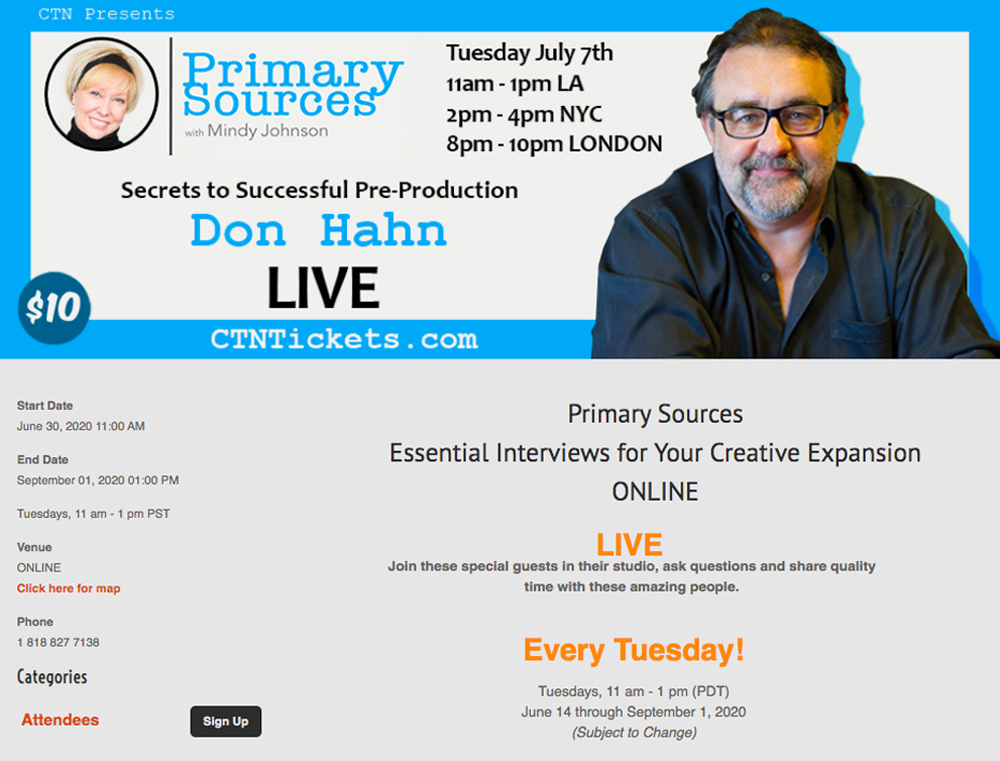 Primary Sources: Keys to Successful Preproduction with Don Hahn and Mindy Johnson