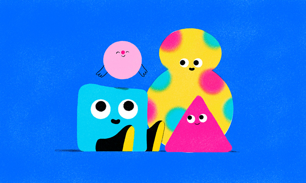 Cartoonito's mascots Nito, Itty, Glob and Wedge