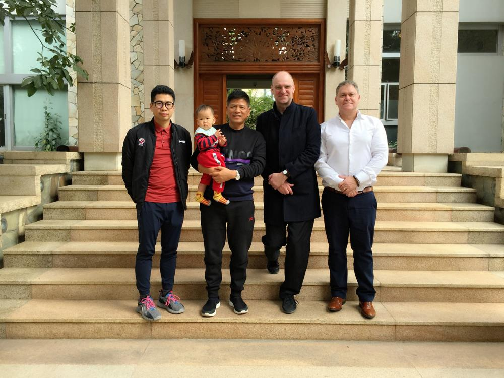 Josh Selig (right) with Studio 100 co-founder/CEO Hans Bourlon and colleagues from Chimelong theme park company.