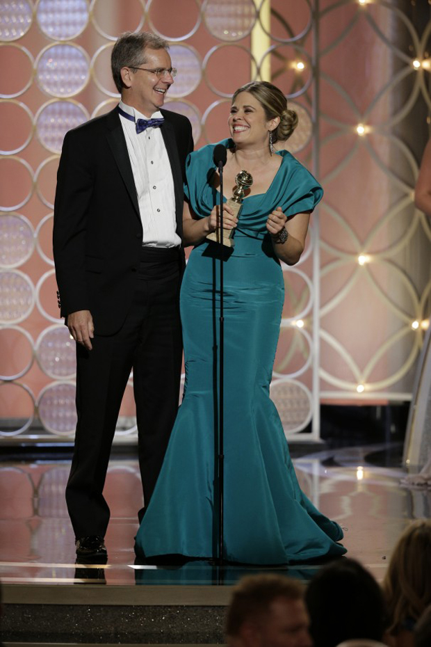 Chris Buck and Jennifer Lee accept the award for Best Animated Feature Film for Frozen.