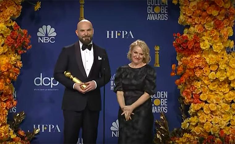 """""""Missing Link"""" director Chris Butler and producer Arianne Sutner backstage at the Golden Globes"""