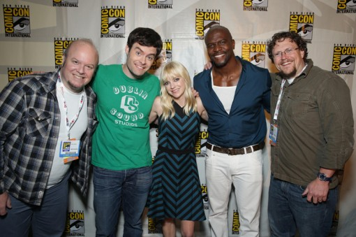 SAN DIEGO, CA - July 19, 2013: Director Cody Cameron, Bill Hader, Anna Faris, Terry Crews and Co-Director Kris Pearn at Comic Con 2013 for Sony Pictures Animation's Cloudy With A Chance of Meatballs 2. SPE,Inc./Eric Charbonneau © 2013 CTMG, Inc. All Rights Reserved.