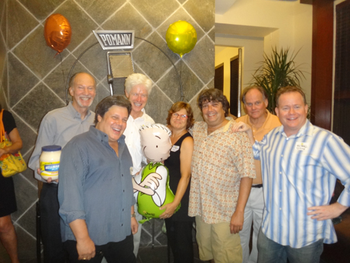 The Voices Behind 'Doug' Starting Bottom Left - Chris Phillips (Roger), above him Jim Brownold (Multiple Characters), Fred Newman (Skeeter) Becca Lish (Judy Funnie ) Bob Pomann (owner Pomann Sound), Bruce Bayley Johnson (Mr. Swirly), Tom McHugh (Doug) in center, Doug!