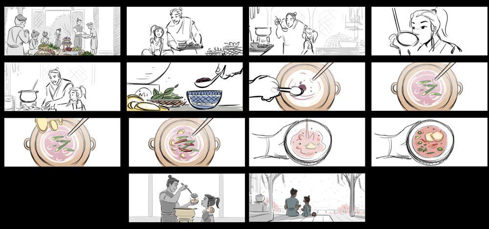 """""""Dad Wisdom"""" storyboards by Fawn Veerasunthorn, Animag Rising Star 2020 (courtesy Walt Disney Animation Studios)"""