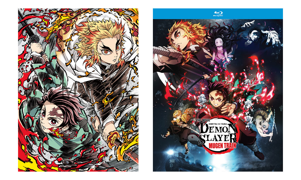 Demon Slayer -Kimetsu no Yaiba- The Movie: Mugen Train Limited Edition (left, from Aniplex) and standard Blu-ray (Funimation).