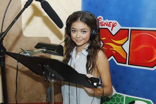 Sarah Hyland records the voice of Theresa Fowler for Disney XD's Randy Cunningham: 9th Grade Ninja in Burbank, CA.