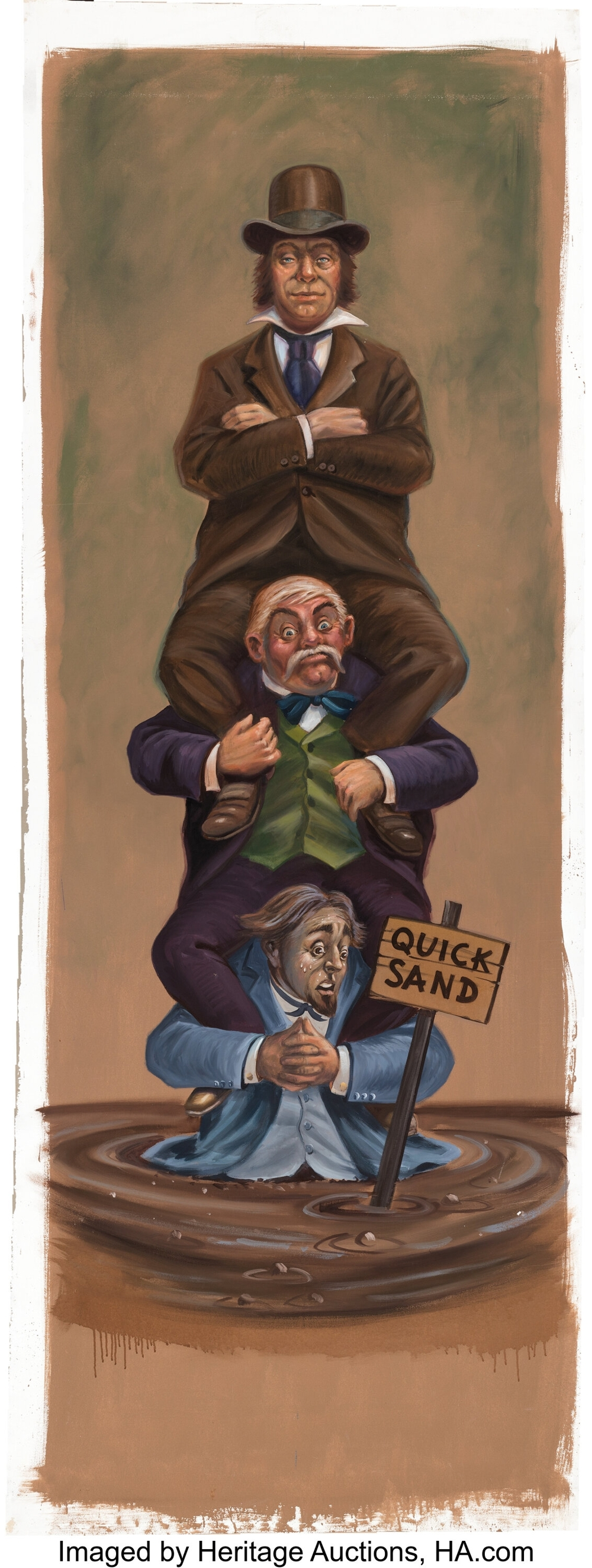 Haunted Mansion original stretching portrait gallery painting, by Clem Hall.