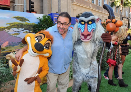 "HOLLYWOOD, CA - AUGUST 27:  Producer Don Hahn (C) poses with Timon and Rafiki at ""The Lion King"" Los Angeles 3D Premiere at the El Capitan Theatre on August 27, 2011 in Hollywood, California.  (Photo by Alberto E. Rodriguez/WireImage)"