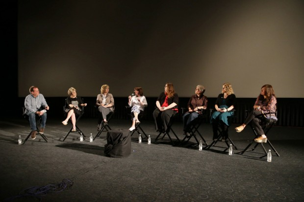 From left, moderator Pete Hammond, producer Bonnie Arnold, co-producer Kendra Haaland, production manager Rebecca Huntley, co-executive producer Kate Spencer, story artist Johane Matte, animator Jennifer Harlow and music executive Sunny Park.