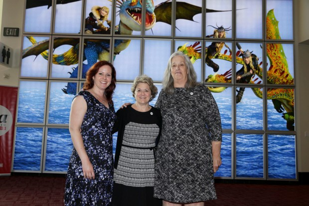 Producer Bonnie Arnold (center) with Women in Animation Co-Presidents Kristy Scanlan (left) and Marge Dean (right).
